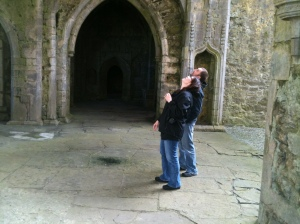 Regan admiring architectural fine points of monastic ruin - 2012