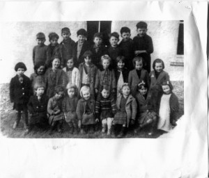 To give you an idea of how small the children were, here is a photo of Maureen's sister Helen (blond, third from left on bottom) and the infants' class in the early 1940s. (You must receive author's written permission to reproduce photo.)