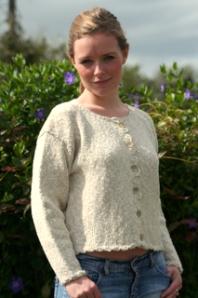 Cardigan in natural with crochet trim - www.simplyirish.ie