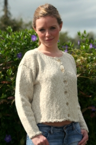 Cardigan in natural with crochet trim - www.simplyirish.ie