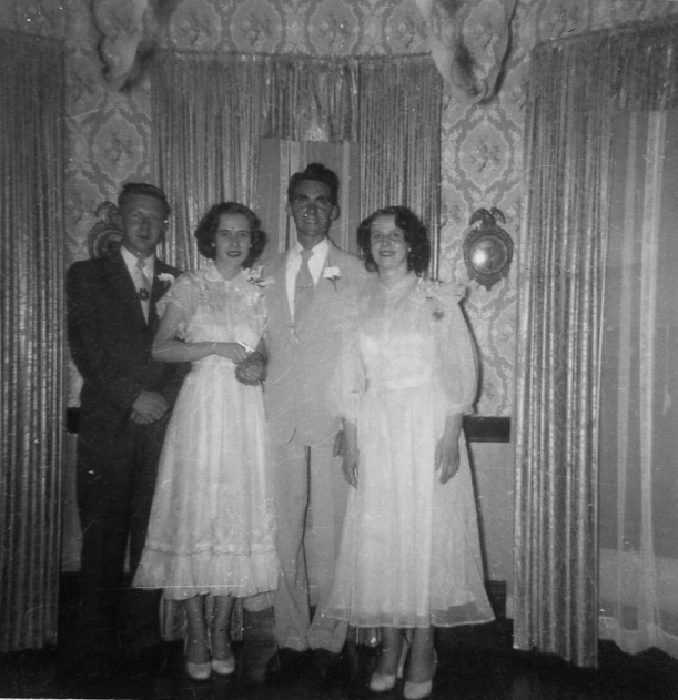 Maureen Teahan & Patrick Murray Wedding with Norman Dooley and Dolly Teahan Johnson, 1952. Photo: Mary Power/Will Murray.